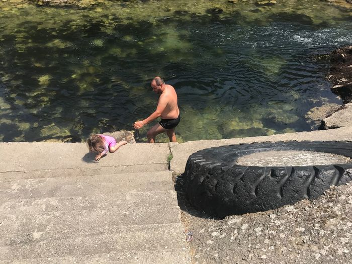 EyeEm Selects Matka Matka Canyon Matka Kanion Shirtless Full Length Day Real People Two People Lifestyles Men Sunlight Outdoors Water Leisure Activity Togetherness Nature Adult Young Adult Only Men People Adults Only