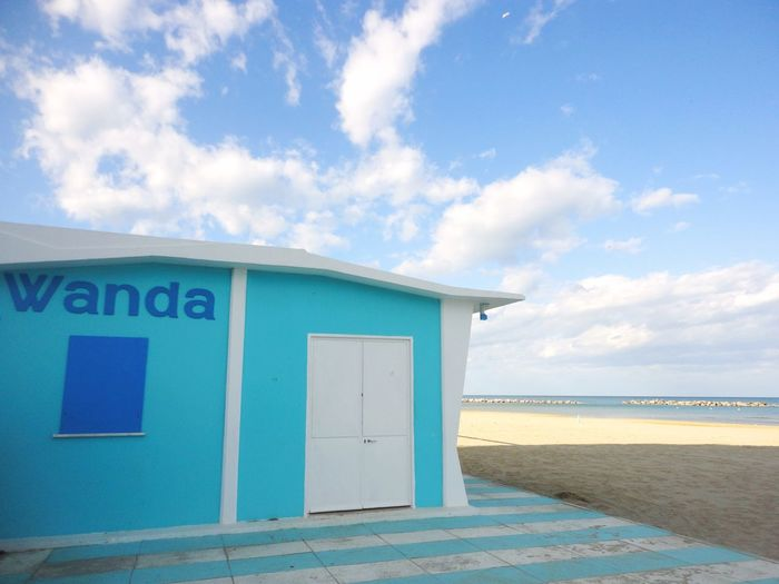 Beach Beach Cabins Blue Blue And White Built Structure Cloud Cloud - Sky Cloudy Day Empty Beach Empty Places Horizon Over Water House On The Beach Idyllic Light Blue Nature No People Outdoors Scenics Sea Sky Tranquil Scene Color Palette White And Blue Color Palette Sommergefühle