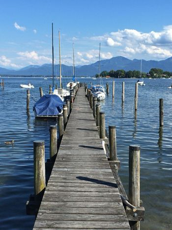 Steg GERMANY🇩🇪DEUTSCHERLAND@ Chiemsee Bavarian Alps Bavaria Enjoying The Sun Beautiful Day Sea Seascape Boats Landing Stage