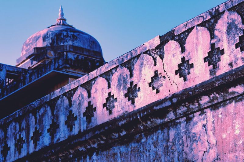 The Pink City of Jaipur. Building Exterior Built Structure Architecture Dome Low Angle View Wall - Building Feature Sky Religion No People Building Travel Destinations Pattern Place Of Worship City History Travel