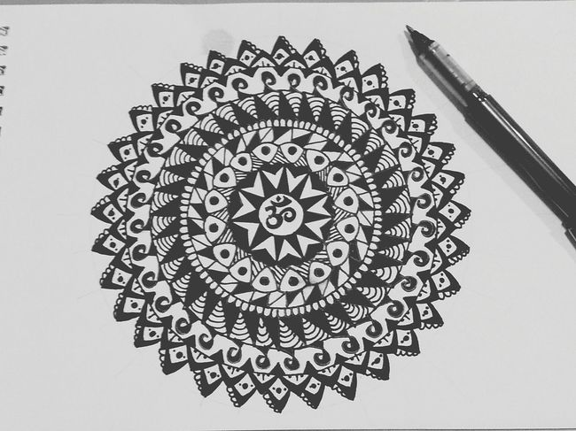Black & White Mandala Mandala Art OM
