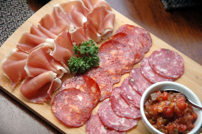 Food And Drink Food Meat Freshness Indoors  Table Plate High Angle View Close-up Ready-to-eat No People Meal Bowl Vegetable Healthy Eating Sausage Still Life Pork Processed Meat Wellbeing Dinner Tapas Pork Chorizo Charcuterie Jamon Ham Mortadella Cured Meat Eyeem Philippines Eyeem Philippines Album