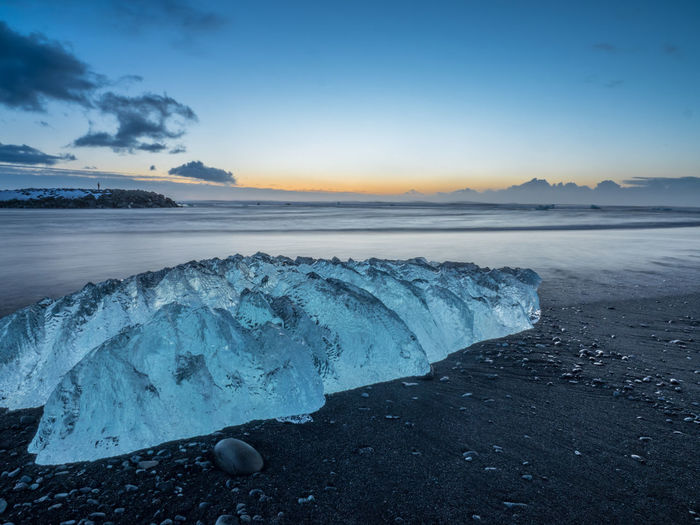 Beauty In Nature Blue Blue Sky Clear Sky Glacier Ice Iseland Nature No People Outdoors Sea Sky Sunrise Water