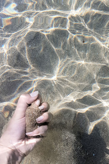 High angle view of hands on sand at beach