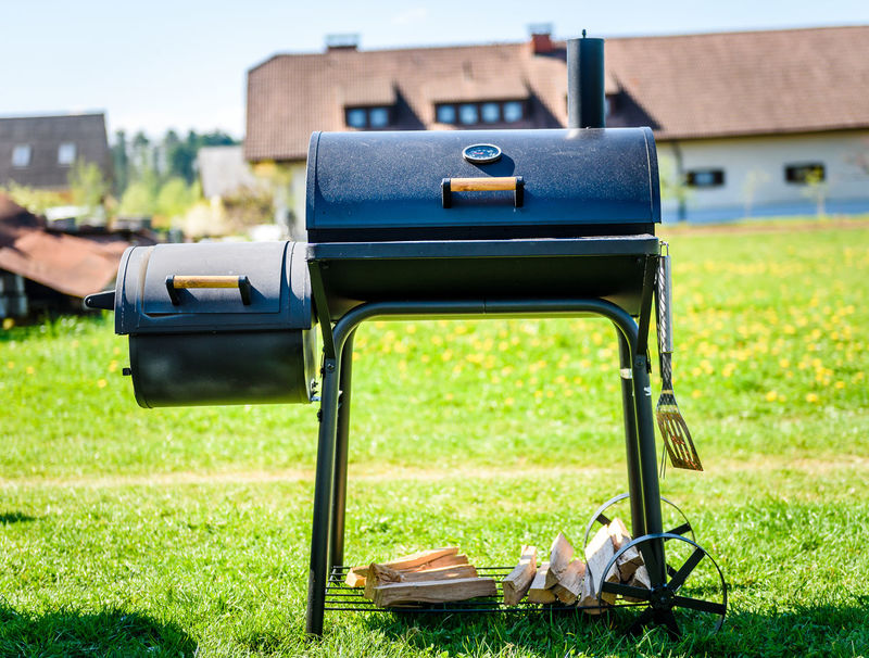BBQ Family Pork Shape Back Yard Barbecue Barbecue Grill Blackandwhite Buffet Cutlery Cylindrical Food Gril Low And Slow Offset Smoker Picnik Preparing Preparing Food Restaurant Smoker Summer Yard