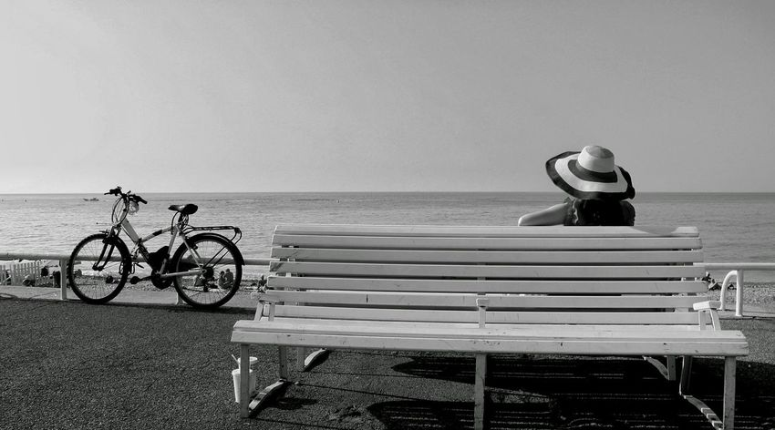 France Nice Traveling Travel Photography Blackandwhite Light And Shadow Girl Sea And Sky Seaside Sea View Vacances South France Straw Hat Hello World Life Is A Beach Lifestyle Photography Model Pose Modern Life EyeEm Best Shots EyeEm Gallery Eyeemphotography People Of The Oceans Bike 法国 尼斯