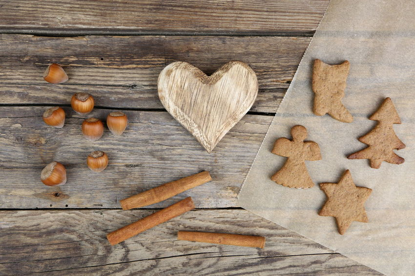 Background Brown Christmas Cinnamon Close-up Cooking Decoration Food Gingerbread Handmade Hazelnuts Heart Heart Shape High Angle View Home Homemade Indoors  Large Group Of Objects Love Nature No People Outdoors Valentine's Day - Holiday Wallpaper Handmade For You