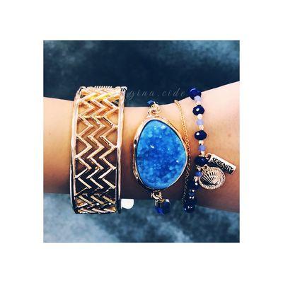 Druzy Aesthetic Avon Avonfashions Stacked Bracelet Chevron Gold Jewelry Wristporn Wrists Bracelet Druzy Blue Color Blue Crystal Jewlery No People Close-up Table Indoors  Day