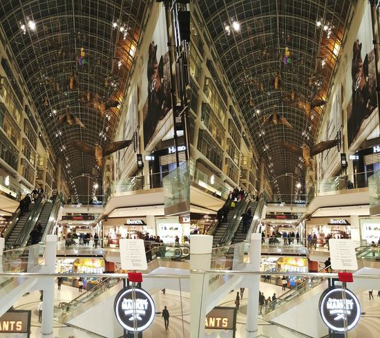 3D Stereoscopic ChaCha photo taken in the Eaton Centre in Toronto. Composed of two consecutive images. Yes, the people were moving but everything else was static. :-) Stereoscopic 3D 2016 02 03 Urban Urban Photography Indoors  Stereocrossed To see depth, gently cross your eyes until left and right images merge into one image 'in the middle'.