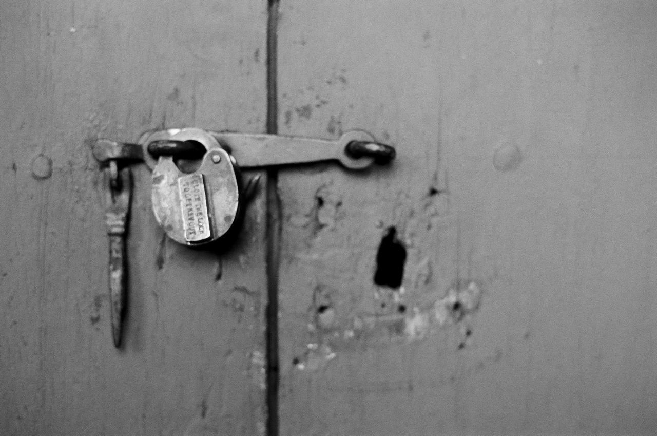 lock, safety, entrance, door, security, protection, metal, close-up, no people, padlock, old, latch, closed, full frame, backgrounds, handle, wood - material, keyhole, key, indoors