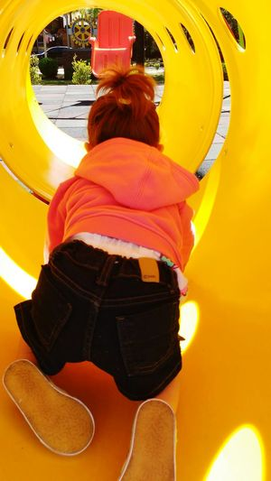 Rear View One Person Yellow Only Women People Happy Time Happiness Park Kids Playing Kids Let Kids Be Kids Let's Go. Together. Lets Play Playing Childhood Child Outside Outdoor Photography Outdoors Outside Photography Be. Ready.