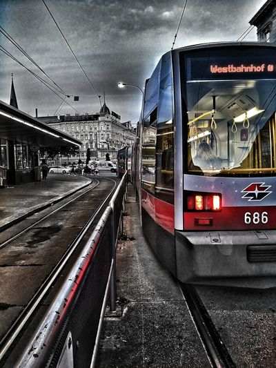 Vienna City Streetphotography Public Transportation Urbanphotography Tramway Vienna_city Siemens  Ulf Westbahnhof Urban Life City Life Illuminated Public Transportation Technology Rail Transportation Train - Vehicle Sky Architecture Built Structure