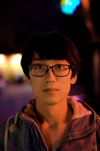 Looking At Camera Portrait Headshot Eyeglasses  Night Close-up Young Adult Illuminated Glasses People Neon Lights China Travel Night Lights