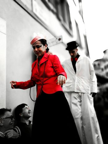 Standing Red Young Adult Front View Performance Focus On Foreground Mask - Disguise Brescia Italy Day Italia Brescia, Italy Street Artist