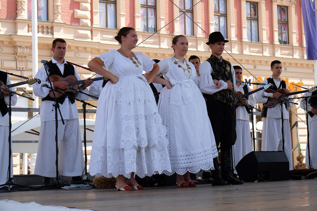 Members of folk group from Tavankut, Serbia during the 50th International Folklore Festival in center of Zagreb, Croatia on July 23, 2016 Entertainment Celebration Costume Croatia Culture Dance Event Festival Folk Folklore Heritage Historic Music Participant Perform Serbia Style Tavankut Tradition Zagreb