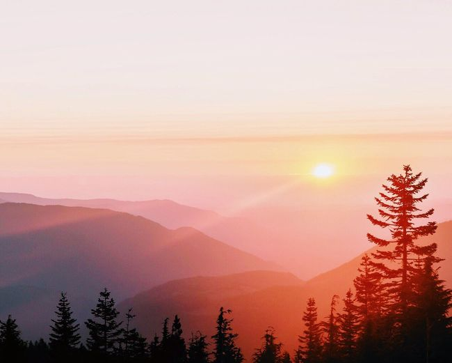 Scenic view of mountains with trees in foreground during sunset