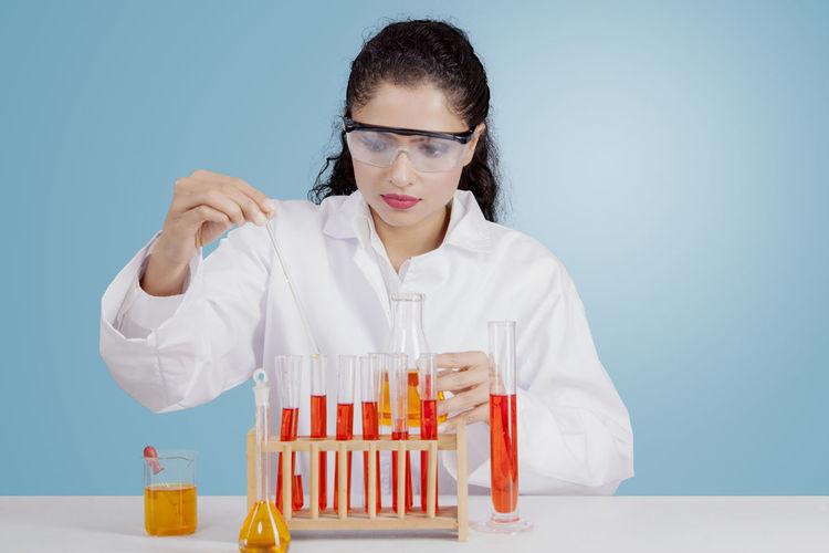 Focused scientist working in laboratory