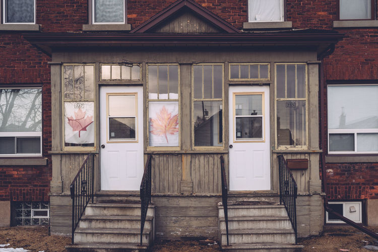 Architecture Building Exterior Built Structure Canada Flag Day Doors Exterior No People Outdoors Stairs Symetrical Symetry Window