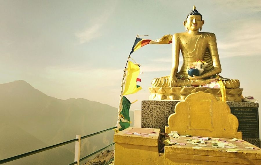 Buddha Buddha Statue Buddhist Statue Meditation Hilltop India Flags Flags In The Wind  Buddhist Flag Himalayas Himalayas, India