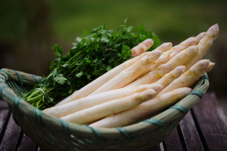 Baguette Basket, Asparagus Close-up Day Food Freshness Healthy Eating Large Group Of Objects Nature No People Outdoors White Asparagus