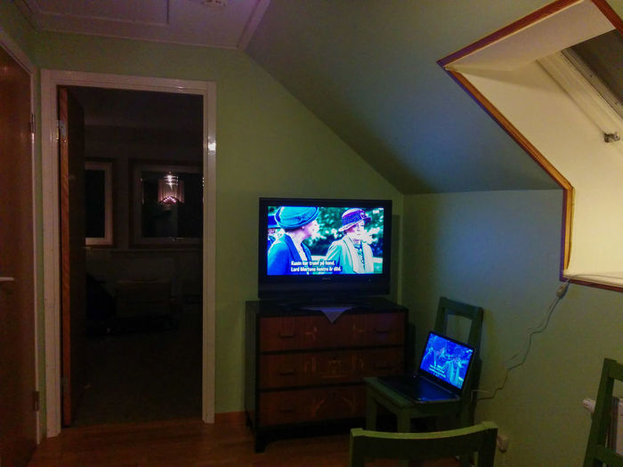 Hallway / Tv Room now Renovated , Watching Tv for the first time (in this house) ☺