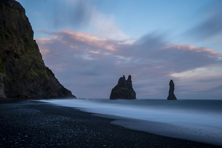 Black Sand Beach Iceland Sea Water Beauty In Nature Sky Tranquil Scene Scenics - Nature Tranquility Cloud - Sky Nature Idyllic No People Outdoors Beach Dramatic Sky Sky And Clouds Sunset Sunset_collection Sundown Scenery Coastline Clouds And Sky Rocks Wave Ocean Seascape Capture Tomorrow My Best Photo