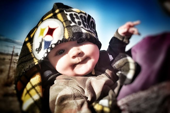 Warm Clothing Outdoors People Horizontal Person Day Close-up One Person Baby Baby Boy Smile Hat Cold Temperature Jacket Steelers Steelers Pride  Steelers Blanket  First Eyeem Photo
