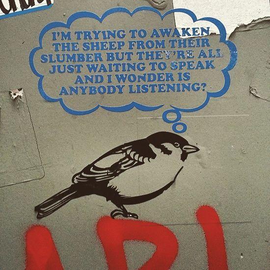 Always some interesting new Streetart near where I'm working. StreetArtNYC Stickerslaps Decal sparrow bird sheep art NYC picoftheday
