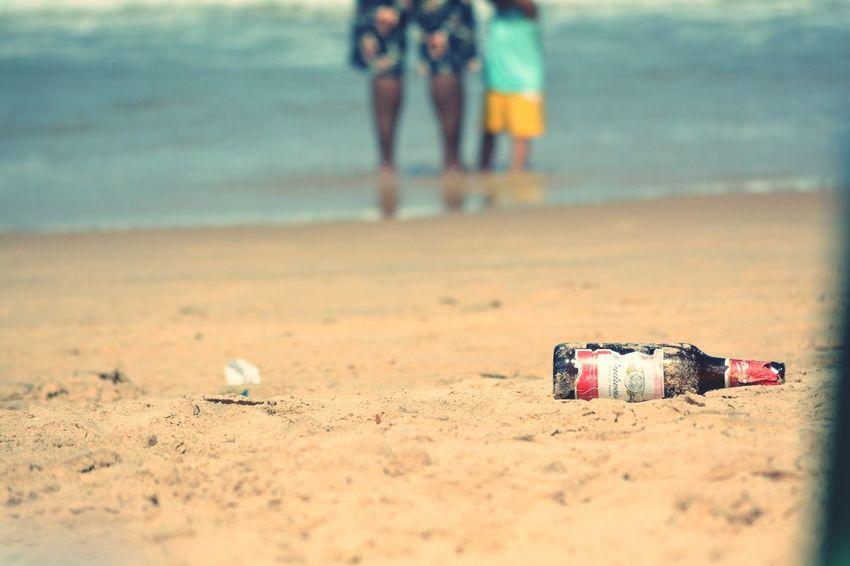 Beach, warm, sun, leisure, holiday, sand, beer, trash, ocean, summer, nature, stroll on beach