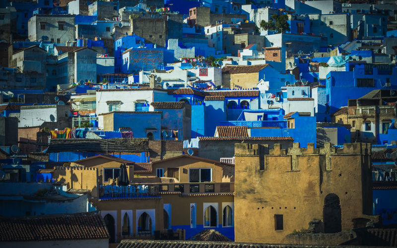 Blue roofs Africa Architecture Building Exterior Chefchaouen City Cityscape Day Morocco No People Outdoors Sky Travel Travel Destinations