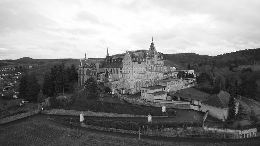 Blackandwhite Germany Drone  Aerial View Aerial Photography Aerial Shot Dronephotography Winter Travel Destinations Travel Castle Wine Ahr Calvarienberg Hogwarts Ahrtal Religion Architecture History Building Exterior Built Structure Outdoors Day No People Sky City