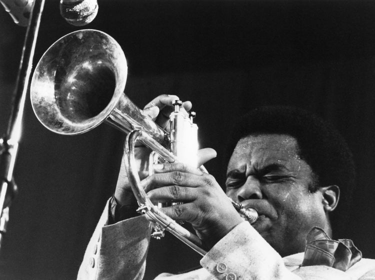 Freddie Hubbard (1938-2008) Ciak Milano 1979/11/05 Trumpetplayer Jazz Concert Portrait One Person Front View Music Festival Ciak Indoors  Black Background Bebop Freddie Hubbard Hardbop Jazz Festival Milan,Italy Black And White Friday