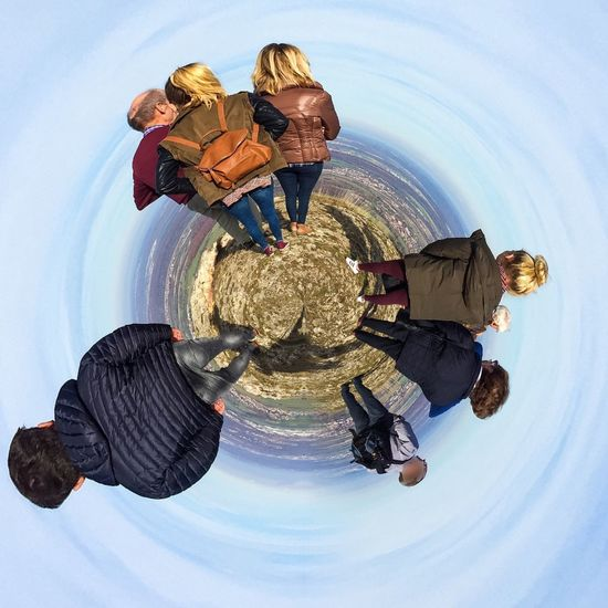 Together on little planet People Planet Panorama World Earth 360° Sphere View Funny Group Family Together Freedom Peace Round Globe Global Funny Man Woman Autumn Generation Future Walking Nature