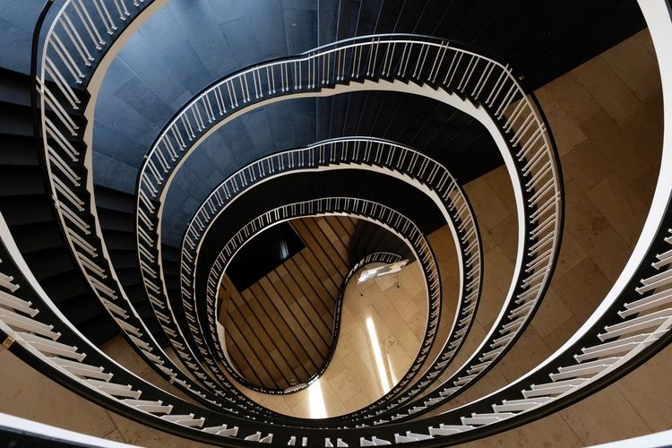 Spiral Steps And Staircases Spiral Staircase Staircase Built Structure Pattern Indoors  Design Diminishing Perspective Directly Above Building High Angle View