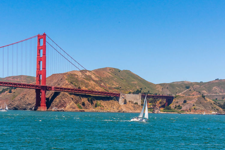 Golden Gate Bridge Sky Water Architecture Blue Nature Built Structure Transportation Connection Bridge Bridge - Man Made Structure Outdoors Mountain Clear Sky Scenics - Nature Beauty In Nature Copy Space Travel Destinations No People Day Travel Sea Bay