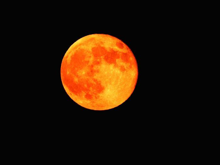 View of orange moon