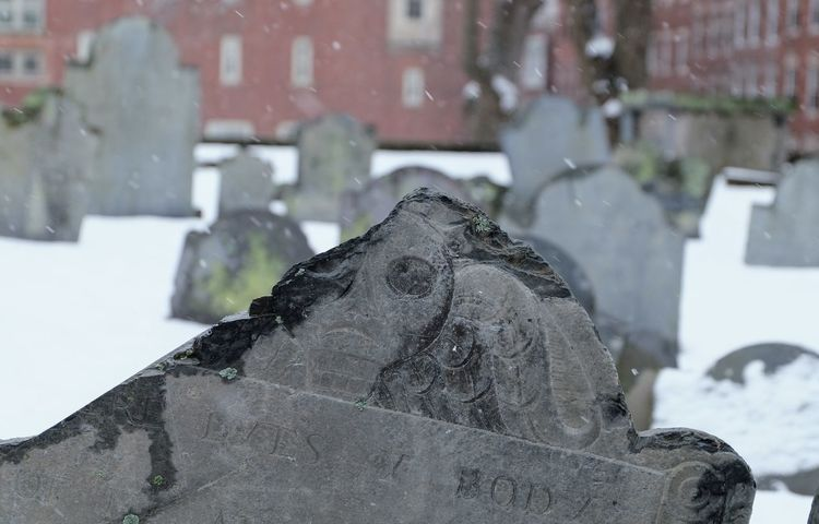 and taxes Boston Boston, Massachusetts Cemetery Snow ❄ Graveyard Headstone Headstone Slabs Decades Old Revolutionary War Skull Skulls And Bones Snow