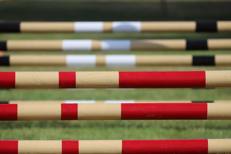 Full frame shot of hurdles