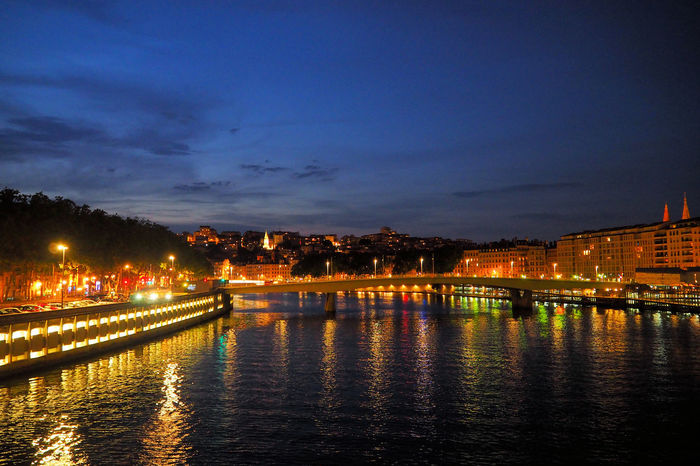 France French Cities Holidays Late Evening On A River Lyon Reflection River At Night River Collection River Cruise Summer Night Twilight Vacations Weekend Away