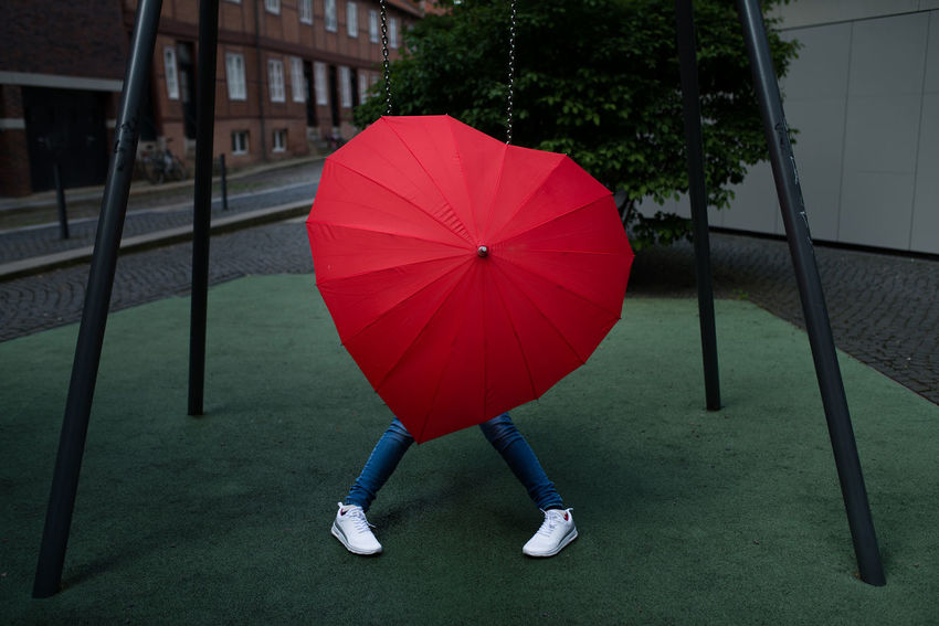 Architecture Close-up Day Heart Low Section One Person Outdoors People Protection Real People Red Umbrella BYOPaper!