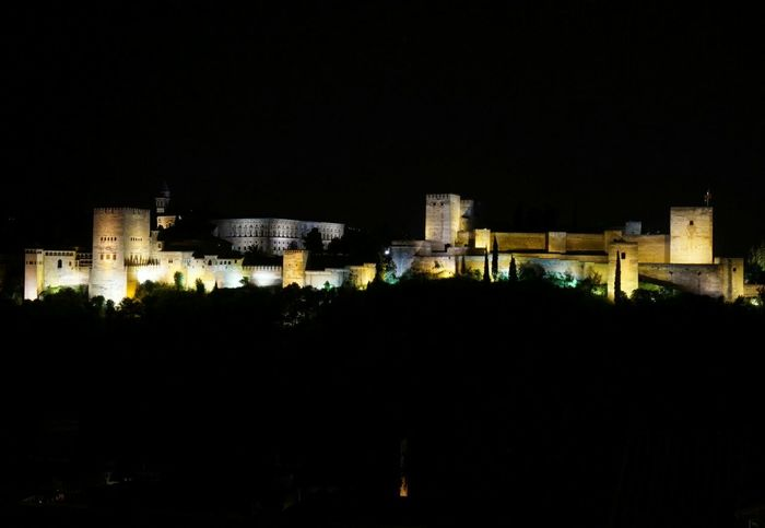 The best view of Alhambra in Granada . Beautiful Landscape at Night