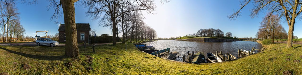 a 360 degree panorama taken at the moat of the fortified city of Naarden, Netherlands 2015  360 Panorama Netherlands Bridge Fortified City Holland Moat Naarden Naarden-bussum No People Panoramic Sky