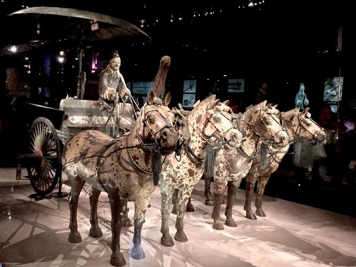 Ancient Artifact Burial Chariot Chinese Funeral History Horse Illuminated Night No People Outdoors Side By Side Terra-cotta Warrior