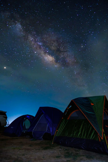 Tent against sky at night