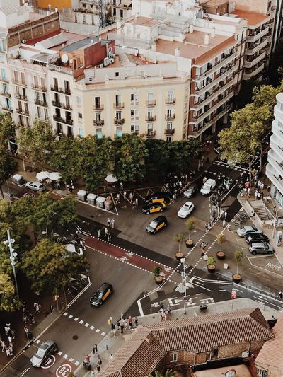Barcelona Architecture City Built Structure High Angle View Motor Vehicle Building Exterior Car City Street Large Group Of People Mode Of Transportation Tree Road Crowd Plant Group Of People Incidental People Day Land Vehicle Transportation Street