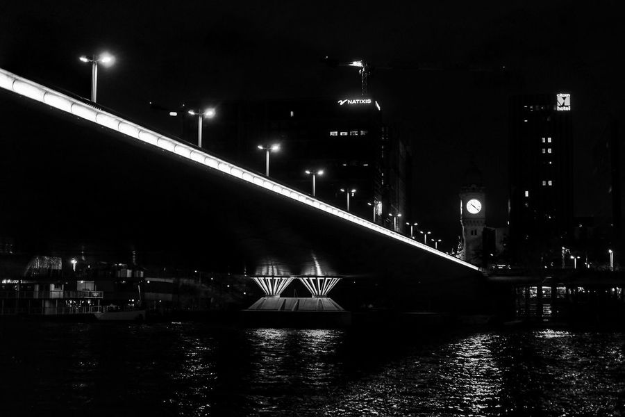 Bnw lighting EyeEm Best Shots - Black + White EyeEm Masterclass EyeEm Best Shots Blackandwhite Night Built Structure Architecture Bridge Water Illuminated Bridge - Man Made Structure Building Exterior Transportation Connection River No People City Sky Nature Waterfront Travel Destinations Lighting Equipment Reflection Outdoors
