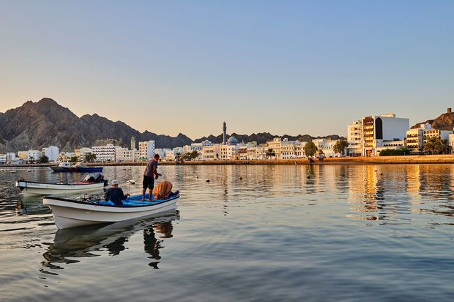 Good morning Muttrah.. Warm Morning Fishermen Clear Morning Sky Sunriselover Oman_photography Reflections On The Water Cityscape Corniche Coast Nautical Vessel Beach Boat Fishing Boat EyeEmNewHere A New Beginning