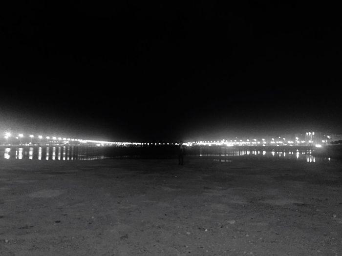 Horizon Night Illuminated Outdoors Sky Water Lights