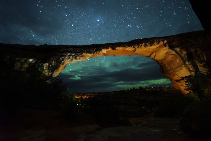 Natural Bridge and the night sky Blue Orange Color Sky The Night Sky Tourist Attraction  Sightseeing Sightseeing Spot Utah Scenery Utah Natural Bridge  Natural Bridges National Monument Red Rock Star - Space Night Astronomy Space Sky Scenics - Nature Star Field Beauty In Nature Star Nature Majestic