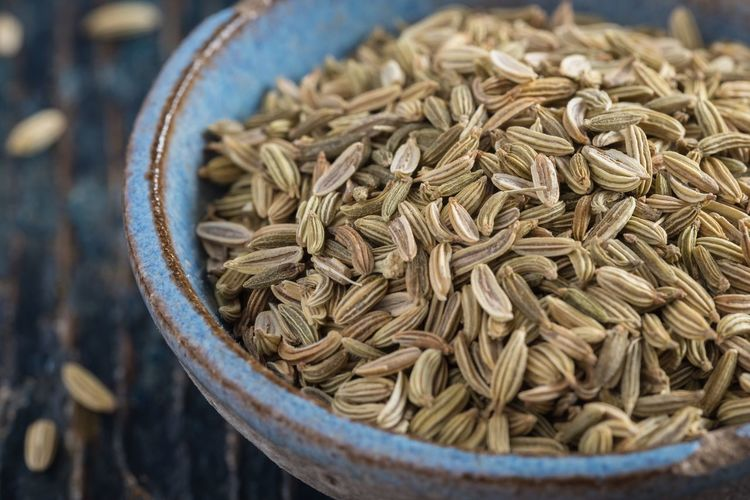 Fennel Seeds Bowl Pottery Blue Isolated Ingredient Seasoning Spice Seeds Fennel Close-up Food And Drink Food No People Abundance